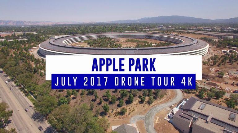 Drohnenflug über den Apple Park in Cupertino (Architektur: Foster + Partners)