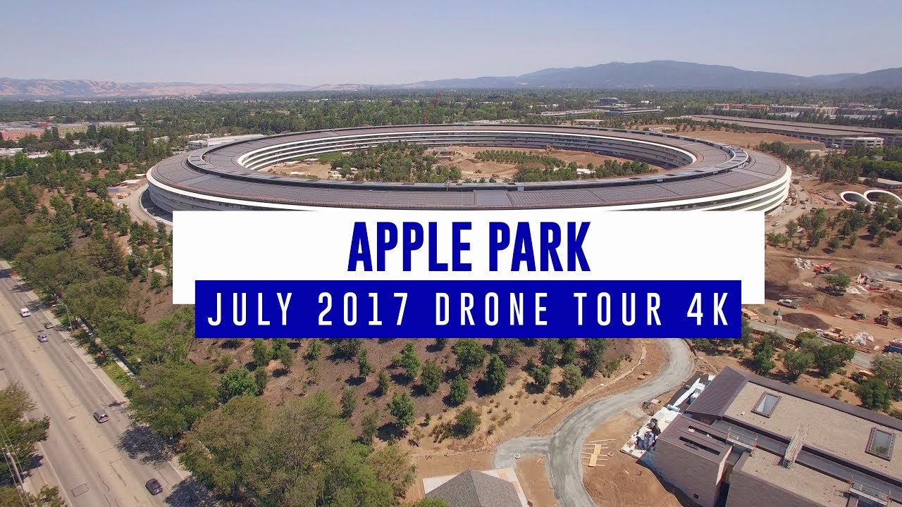 Drohnenflug über den Apple Park in Cupertino (Architektur: Foster + Partners)
