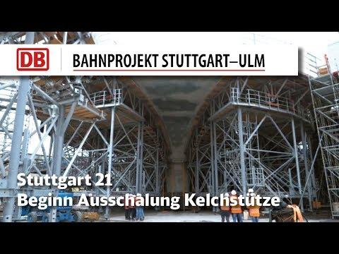 Betonbau beim Großprojekt Stuttgart 21: Die ersten Kelchstützen werden ausgeschalt