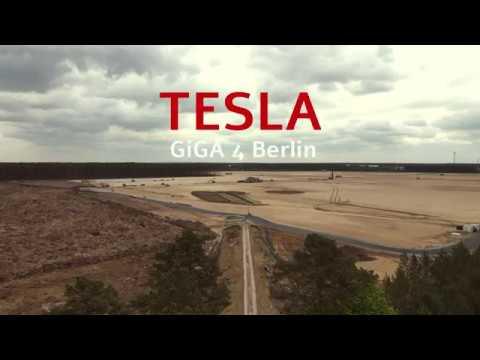 Tesla Giga Factory Berlin: Drohnenflug über die Baustelle in Grünheide