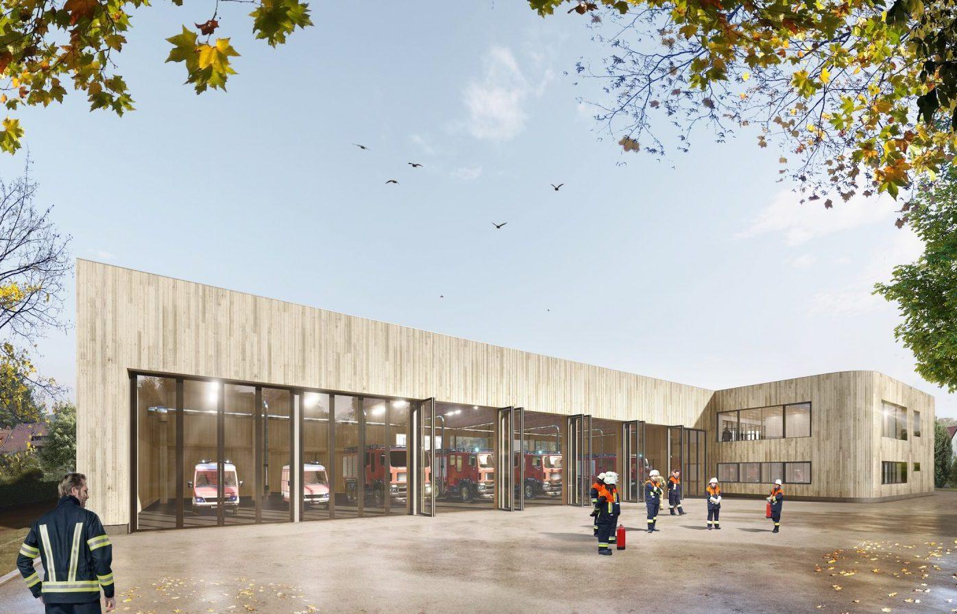 Fahrzeughalle und Hallenausfahrt des neuen Feuerwehrhauses in Tübingen (Bild: Gaus Architekten)