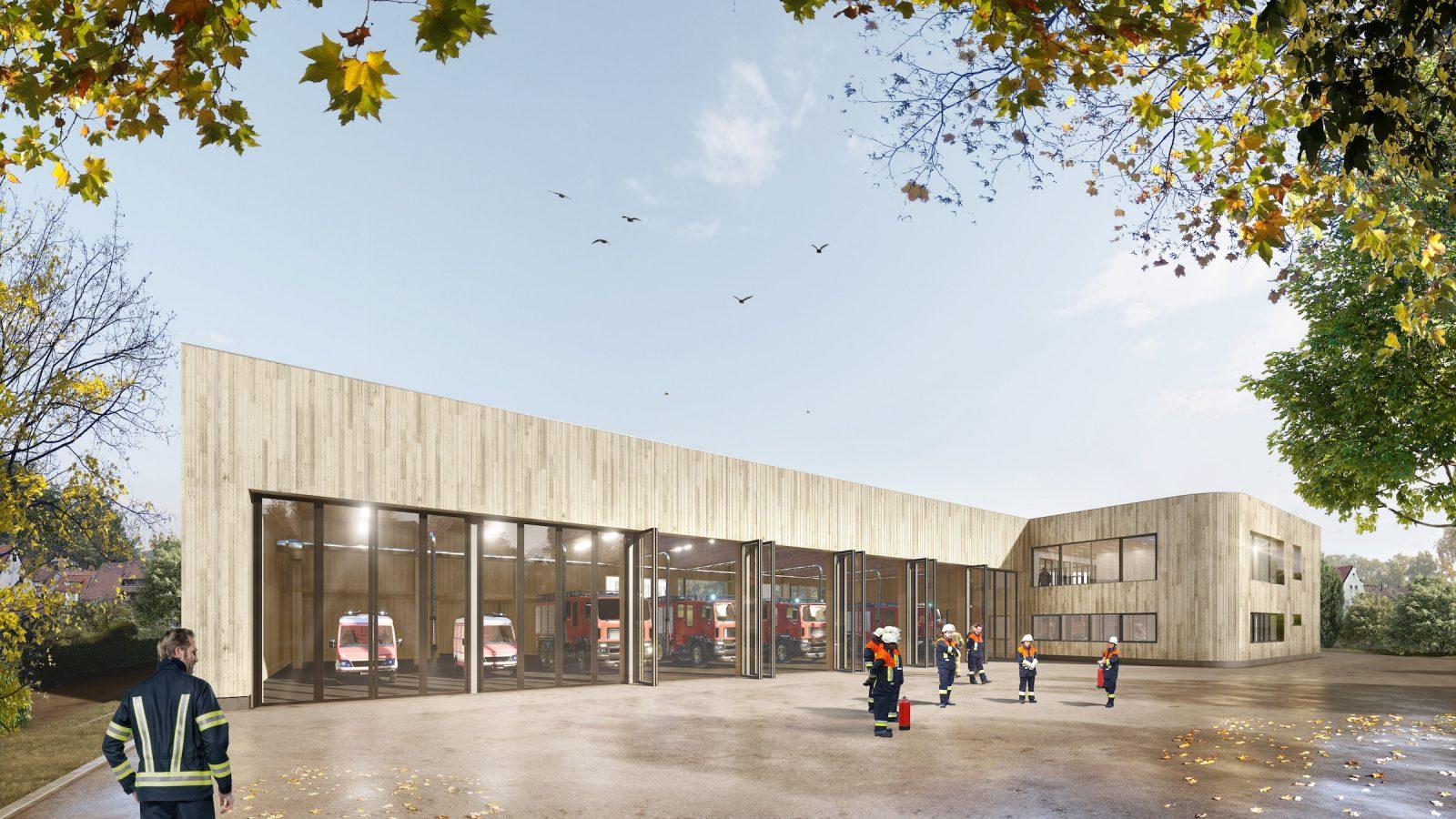 Gaus Architekten bauen in Tübingen ein Feuerwehrhaus aus Holz. Hier die Fahrzeughalle und Hallenausfahrt (Bild: Gaus Architekten)