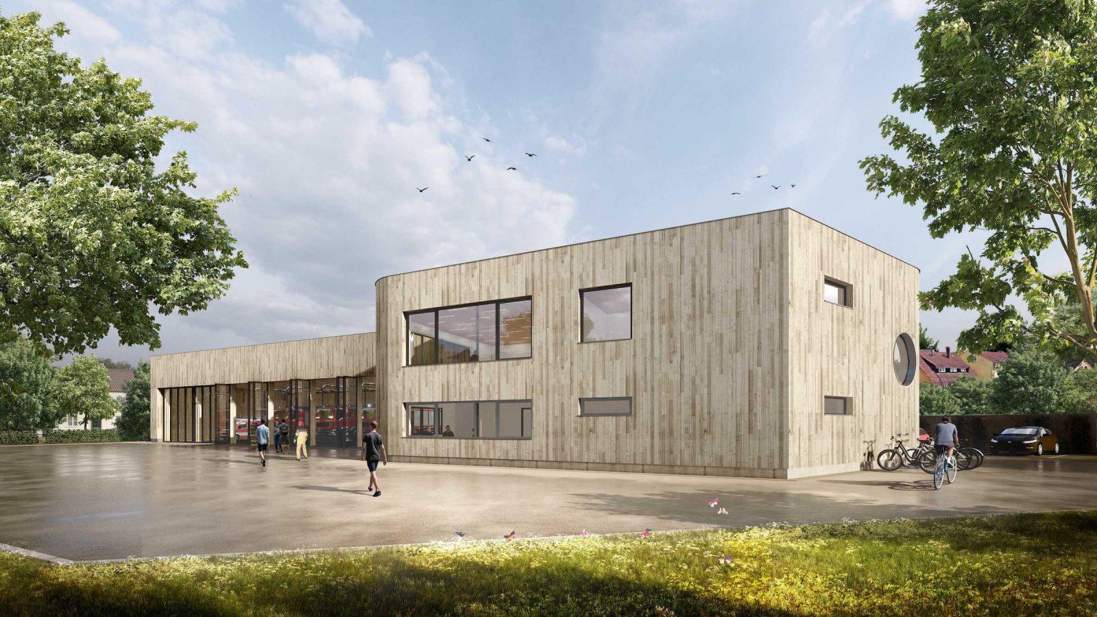 Gaus Architekten bauen in Tübingen ein Feuerwehrhaus aus Holz. Hier die Fahrzeughalle und das Bauteil mit Räumen für Verwaltung und Schulung (Bild: Gaus Architekten)